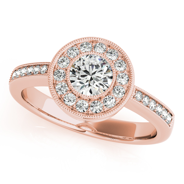 10K Rose Gold Round Halo Engagement Ring - This 10K rose gold round halo engagement ring can accommodate a round diamond shape of 0.50 carats. Includes 26 diamonds weighing 0.25 carats total. Available in 10K, 14K, and 18K white, yellow, or rose gold, and platinum. Center diamond not included. Matching wedding band sold separately.