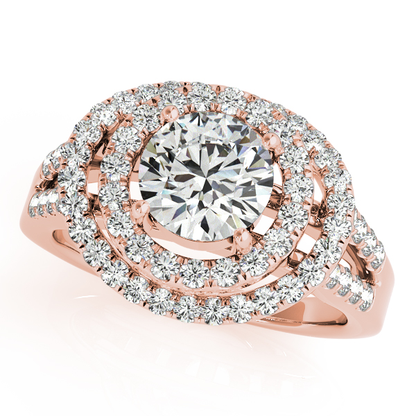 10K Rose Gold Round Halo Engagement Ring - This 10K rose gold round halo engagement ring can accommodate a round diamond shape of 1.00 carats. Includes 65 diamonds weighing 0.65 carats total. Available in 10K, 14K, and 18K white, yellow, or rose gold, and platinum. Center diamond not included. Matching wedding band sold separately.