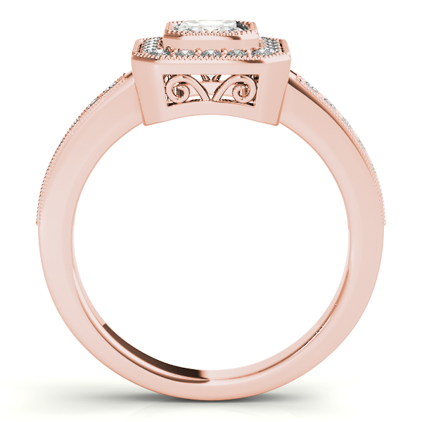 Diamond Engagement Rings - 18K Rose Gold Emerald Halo Engagement Ring - image #2