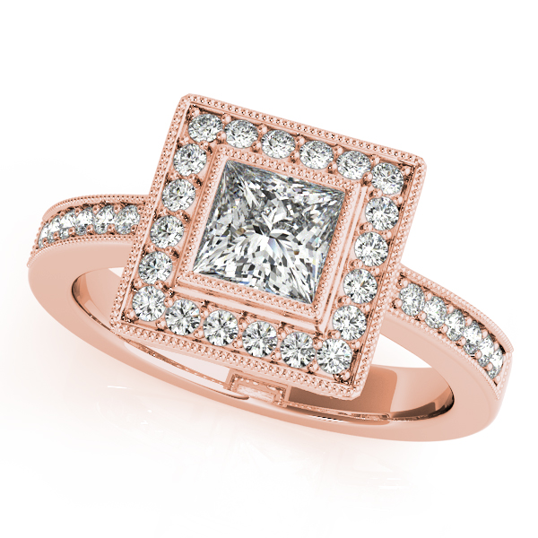 10K Rose Gold Halo Engagement Ring - This 10K rose gold halo engagement ring can accommodate princess or cushion diamond shapes of 0.90 carats. Includes 32 diamonds weighing 0.31 carats total. Available in 10K, 14K, and 18K white, yellow, or rose gold, and platinum. Center diamond not included. Matching wedding band sold separately.