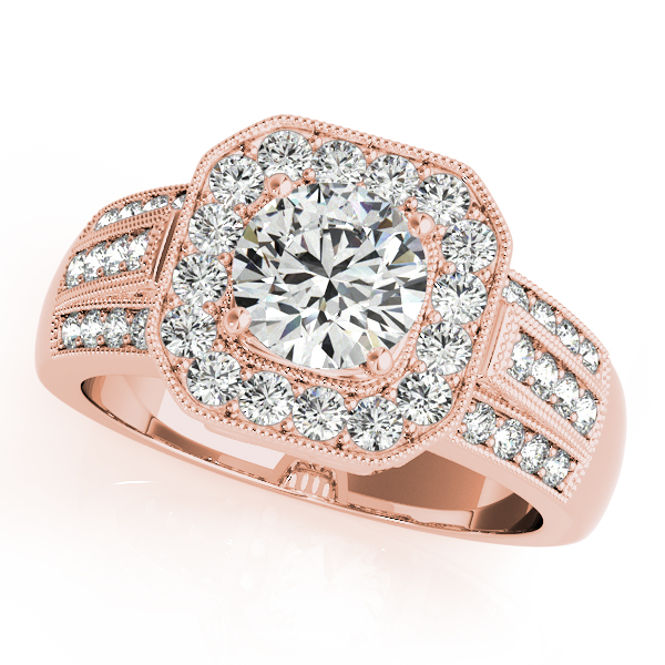 10K Rose Gold Round Halo Engagement Ring - This 10K rose gold round halo engagement ring can accommodate a round diamond shape of 0.75 carats. Includes 40 diamonds weighing 0.60 carats total. Available in 10K, 14K, and 18K white, yellow, or rose gold, and platinum. Center diamond not included. Matching wedding band sold separately.