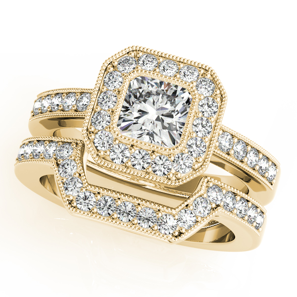 Diamond Engagement Rings - 18K Yellow Gold Halo Engagement Ring - image #3