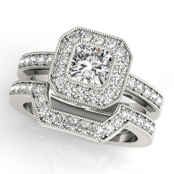 Diamond Engagement Rings - 14K White Gold Halo Engagement Ring - image 3