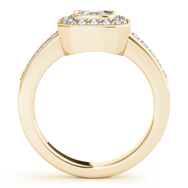 Diamond Engagement Rings - 18K Yellow Gold Halo Engagement Ring - image #2