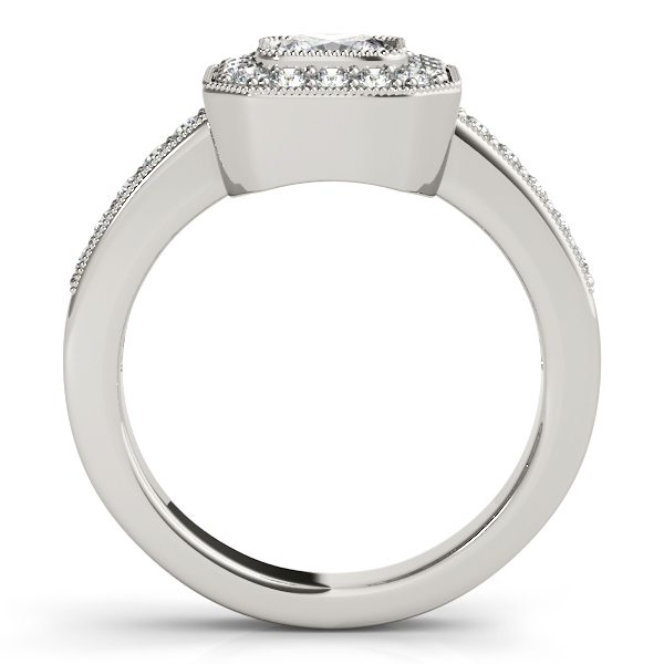 Diamond Engagement Rings - 14K White Gold Halo Engagement Ring - image 2