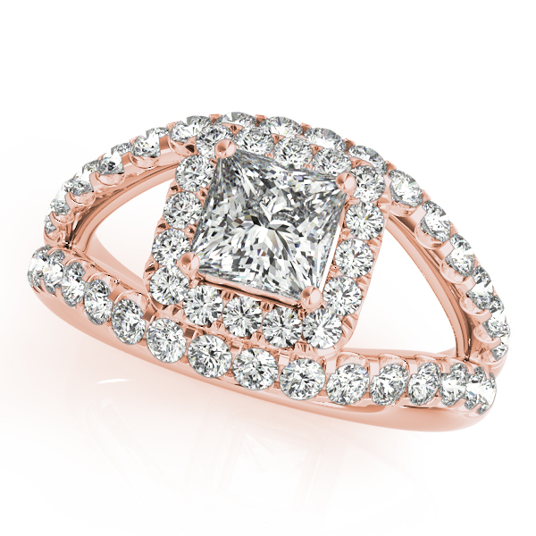 Diamond Engagement Rings - 18K Rose Gold Halo Engagement Ring