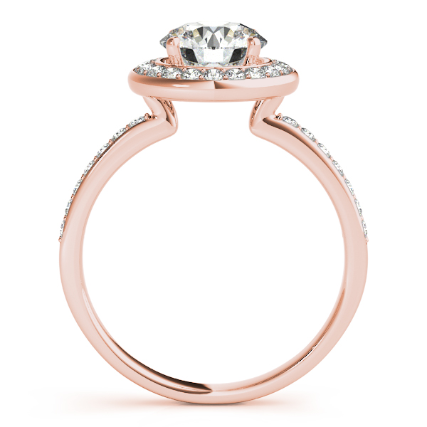 Engagement Rings - 18K Rose Gold Round Halo Engagement Ring - image #2
