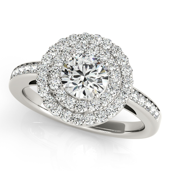 Diamond Engagement Rings - Platinum Round Halo Engagement Ring
