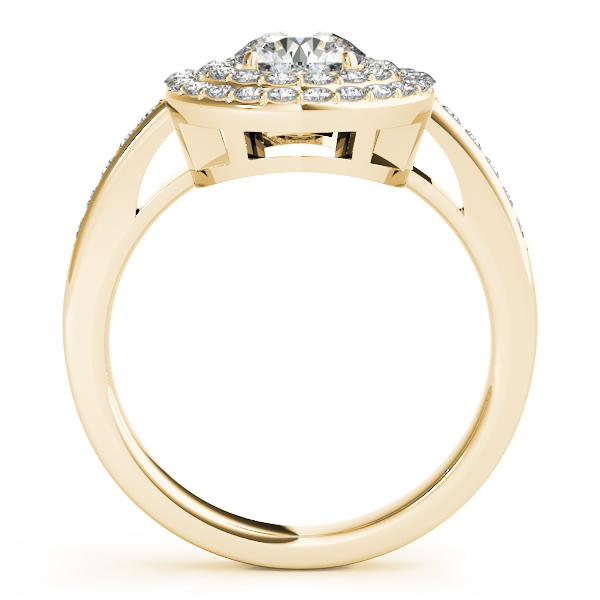 Rings - 14K Yellow Gold Round Halo Engagement Ring - image 2