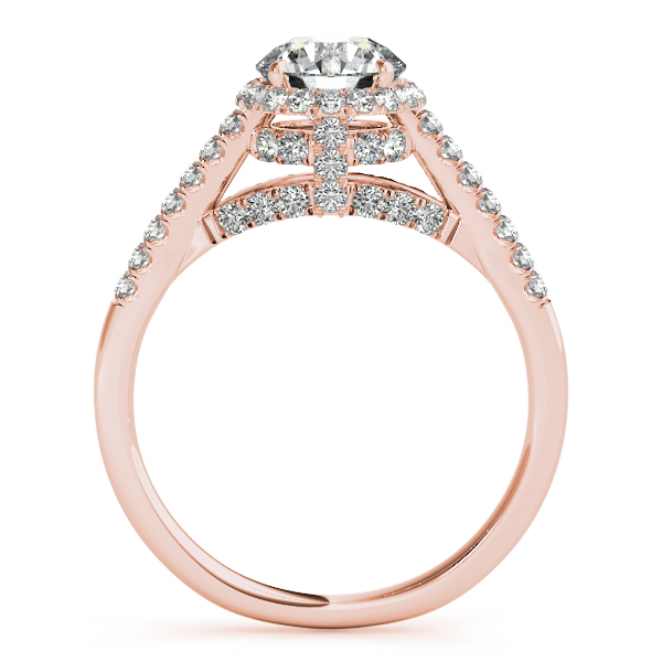 Diamond Engagement Rings - 14K Rose Gold Round Halo Engagement Ring - image 2