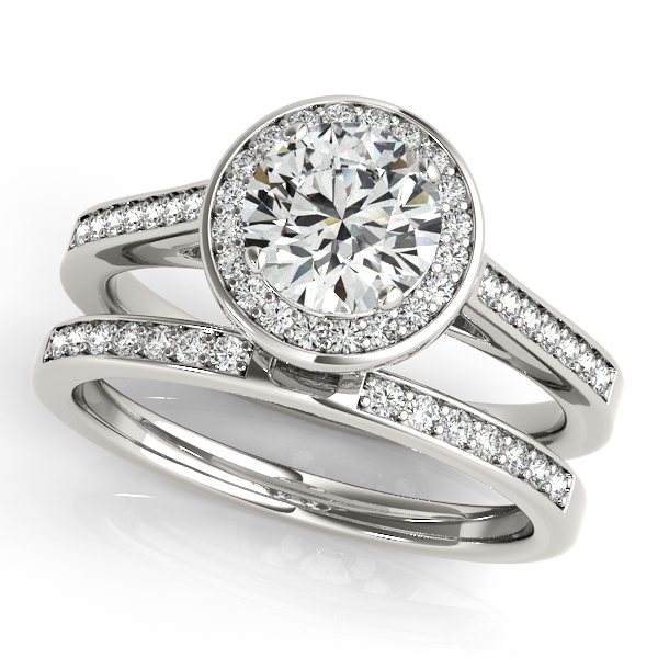Engagement Rings - 18K White Gold Round Halo Engagement Ring - image #3