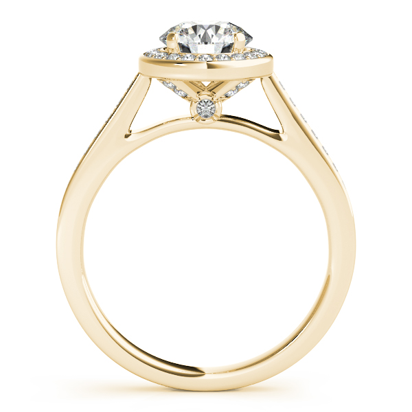 Rings - 18K Yellow Gold Round Halo Engagement Ring - image #2