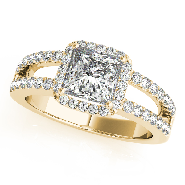 Diamond Engagement Rings - 18K Yellow Gold Halo Engagement Ring