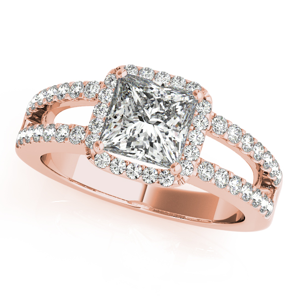 Engagement Rings - 18K Rose Gold Halo Engagement Ring