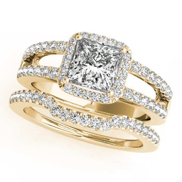 Diamond Engagement Rings - 14K Yellow Gold Halo Engagement Ring - image #3