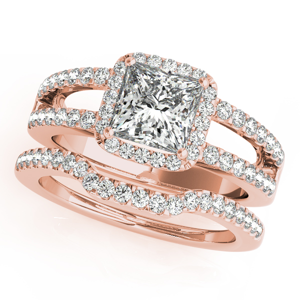 Diamond Engagement Rings - 14K Rose Gold Halo Engagement Ring - image 3