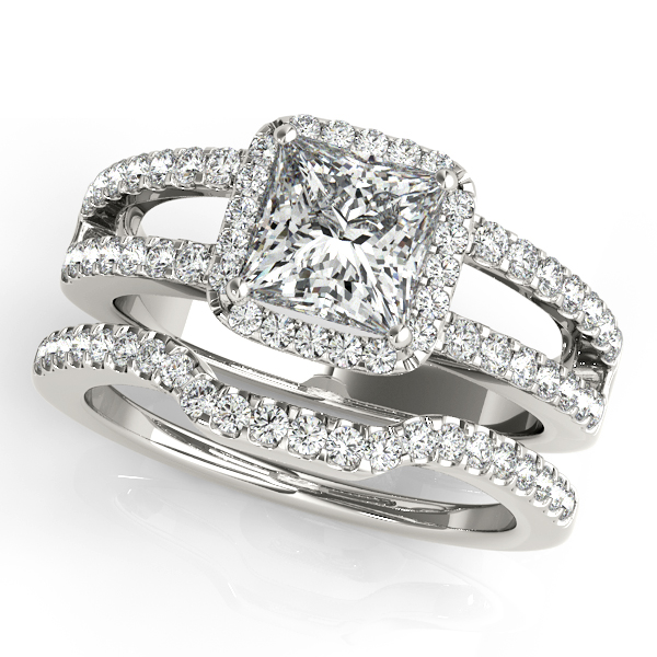 Rings - 18K White Gold Halo Engagement Ring - image #3