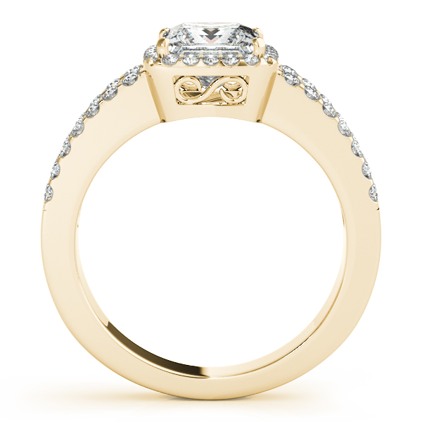 Engagement Rings - 18K Yellow Gold Halo Engagement Ring - image #2