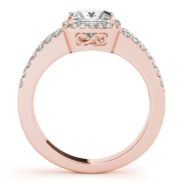 Diamond Engagement Rings - 14K Rose Gold Halo Engagement Ring - image #2