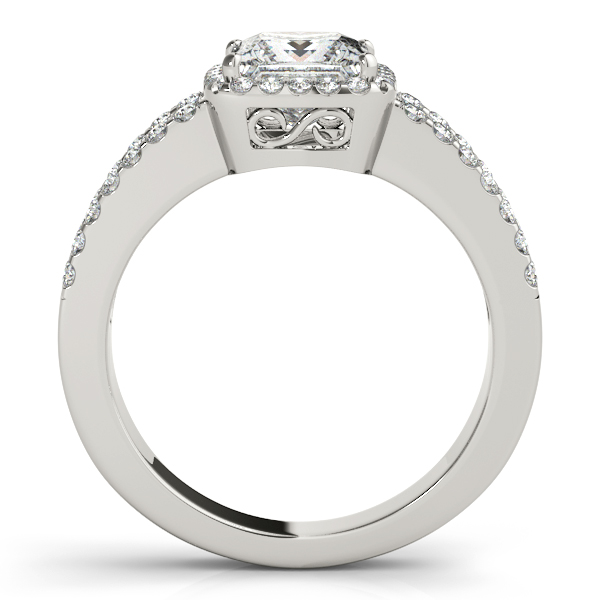 Diamond Engagement Rings - 18K White Gold Halo Engagement Ring - image 2