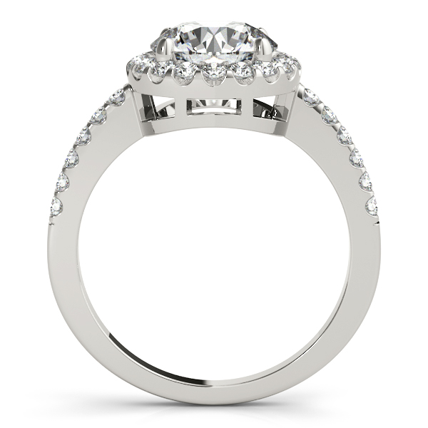 Diamond Engagement Rings - Platinum Round Halo Engagement Ring - image #2
