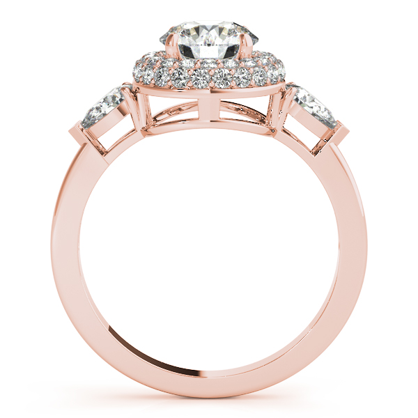 Diamond Engagement Rings - 14K Rose Gold Round Halo Engagement Ring - image #2
