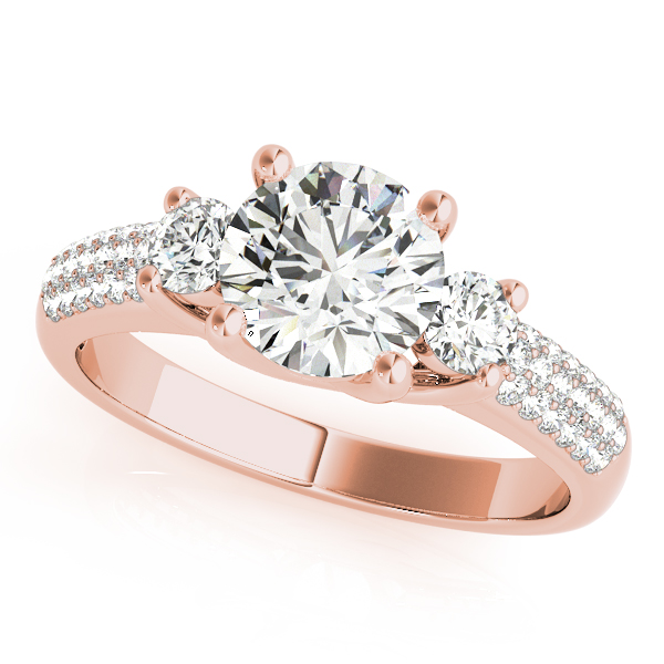 Diamond Engagement Rings - 10K Rose Gold Three-Stone Round Engagement Ring
