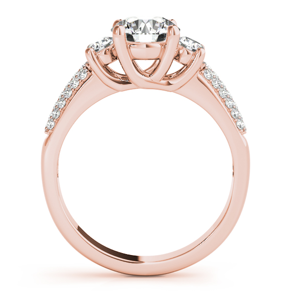 Engagement Rings - 18K Rose Gold Three-Stone Round Engagement Ring - image 2