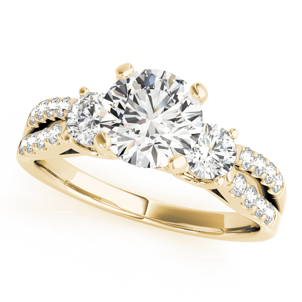 Diamond Engagement Rings - 14K Yellow Gold Three-Stone Round Engagement Ring