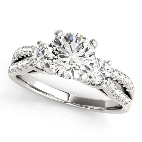 Diamond Engagement Rings - 10K White Gold Three-Stone Round Engagement Ring
