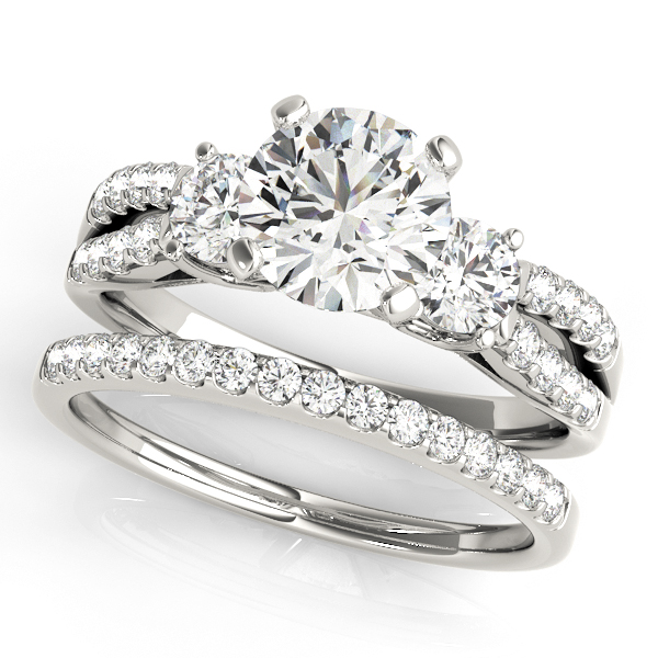 Diamond Engagement Rings - 10K White Gold Three-Stone Round Engagement Ring - image #3