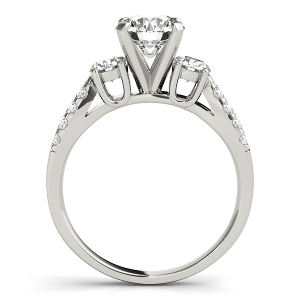 Diamond Engagement Rings - Platinum Three-Stone Round Engagement Ring - image 2