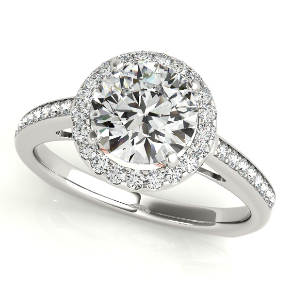 Diamond Engagement Rings - 10K White Gold Round Halo Engagement Ring