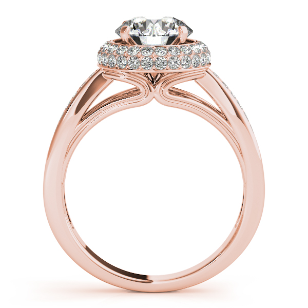 Diamond Engagement Rings - 18K Rose Gold Round Halo Engagement Ring - image #2