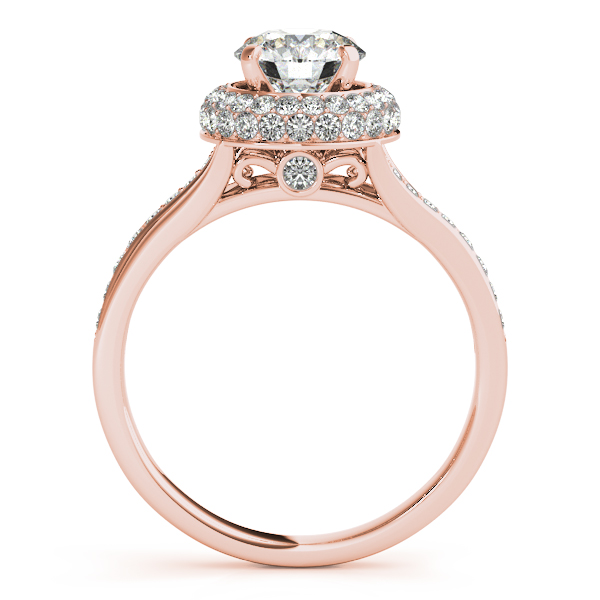 Diamond Engagement Rings - 10K Rose Gold Round Halo Engagement Ring - image #2