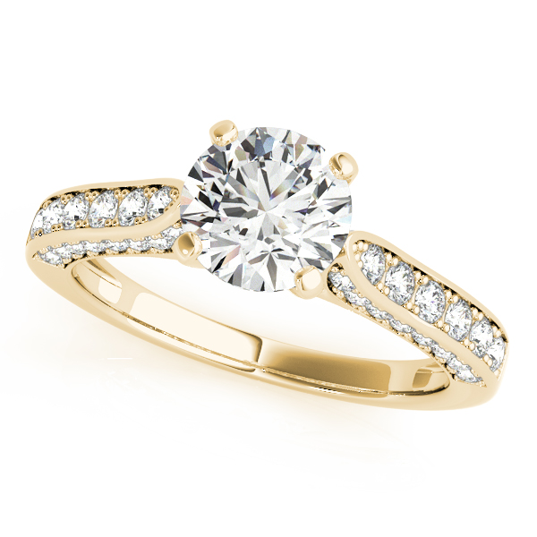 Diamond Engagement Rings - 18K Yellow Gold Single Row Prong Engagement Ring