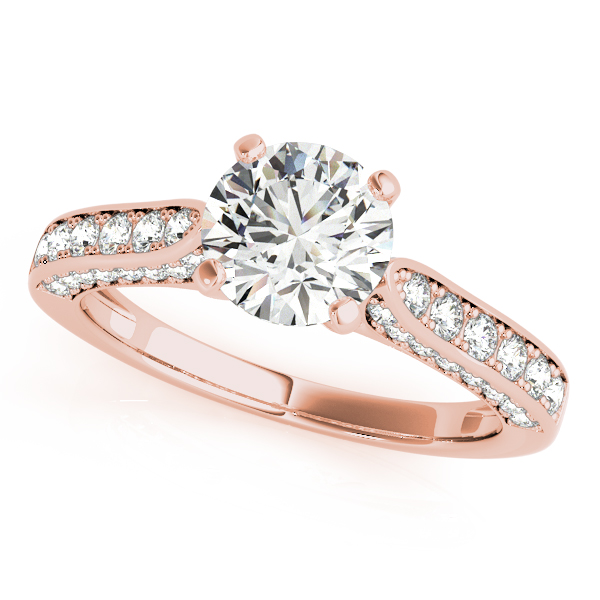 Diamond Engagement Rings - 14K Rose Gold Single Row Prong Engagement Ring