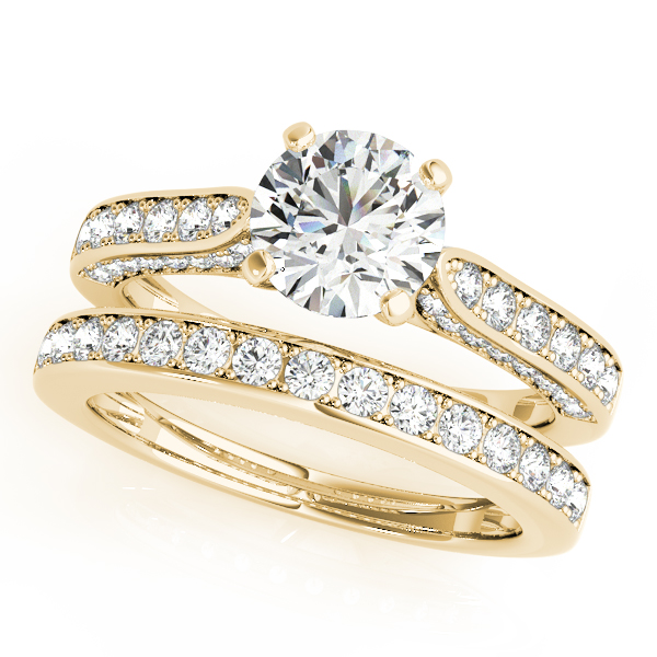 Diamond Engagement Rings - 18K Yellow Gold Single Row Prong Engagement Ring - image 3