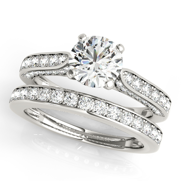 Diamond Engagement Rings - 14K White Gold Single Row Prong Engagement Ring - image #3