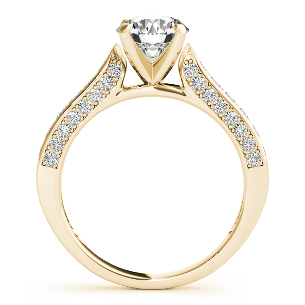 Diamond Engagement Rings - 18K Yellow Gold Single Row Prong Engagement Ring - image 2