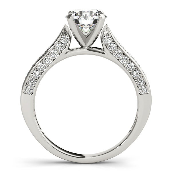 Diamond Engagement Rings - 10K White Gold Single Row Prong Engagement Ring - image #2