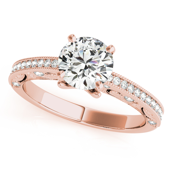 Diamond Engagement Rings - 10K Rose Gold Antique Engagement Ring