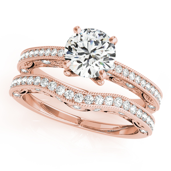 Diamond Engagement Rings - 10K Rose Gold Antique Engagement Ring - image #3