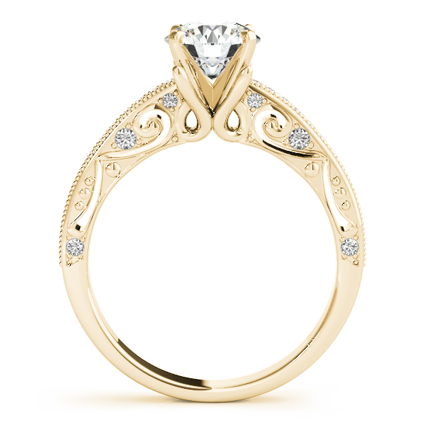 Diamond Engagement Rings - 14K Yellow Gold Antique Engagement Ring - image #2