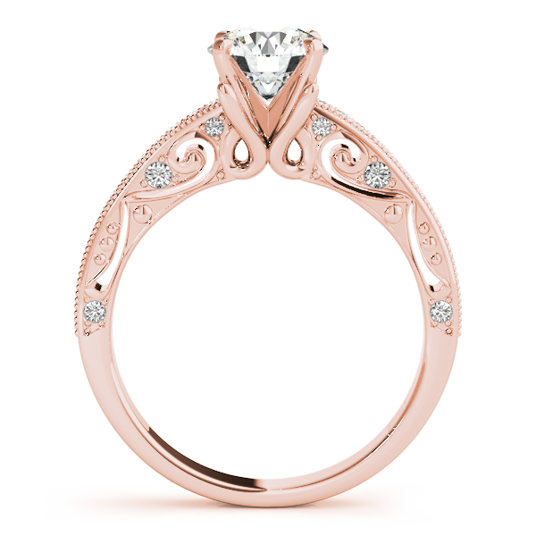Diamond Engagement Rings - 10K Rose Gold Antique Engagement Ring - image #2