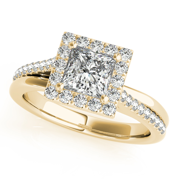 Engagement Rings - 18K Yellow Gold Halo Engagement Ring