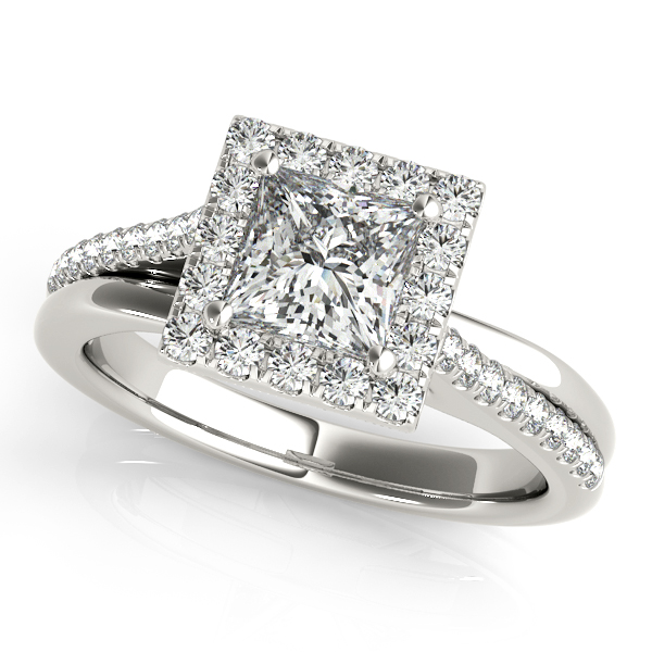 Engagement Rings - 18K White Gold Halo Engagement Ring
