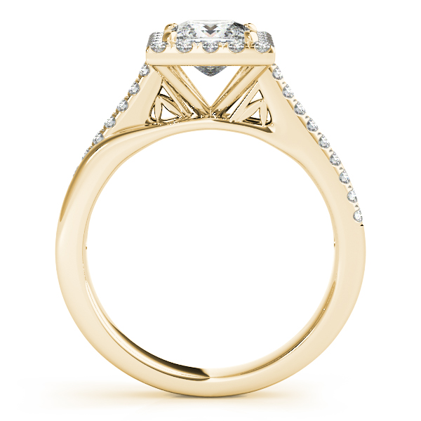 Engagement Rings - 10K Yellow Gold Halo Engagement Ring - image #2