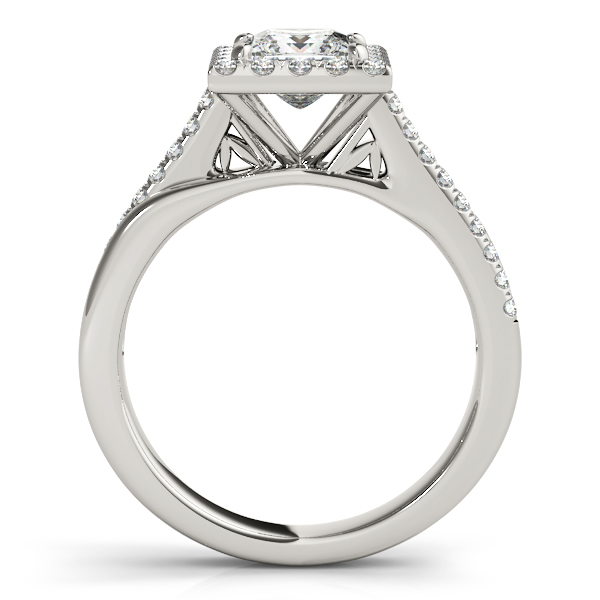 Rings - 10K White Gold Halo Engagement Ring - image #2