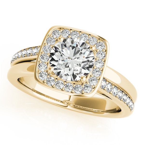 Diamond Engagement Rings - 18K Yellow Gold Round Halo Engagement Ring